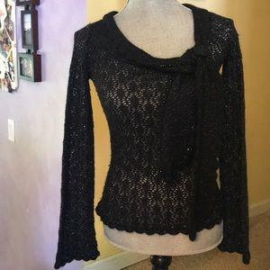 Betsy Johnson Black Sparkle Knit Sweater